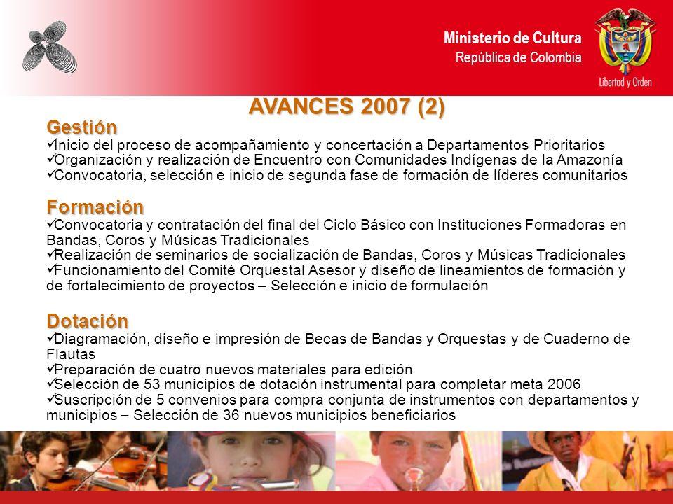 AVANCES 2007 (2) Gestión Inicio del proceso de acompañamiento y concertación a Departamentos Prioritarios Organización y realización de Encuentro con