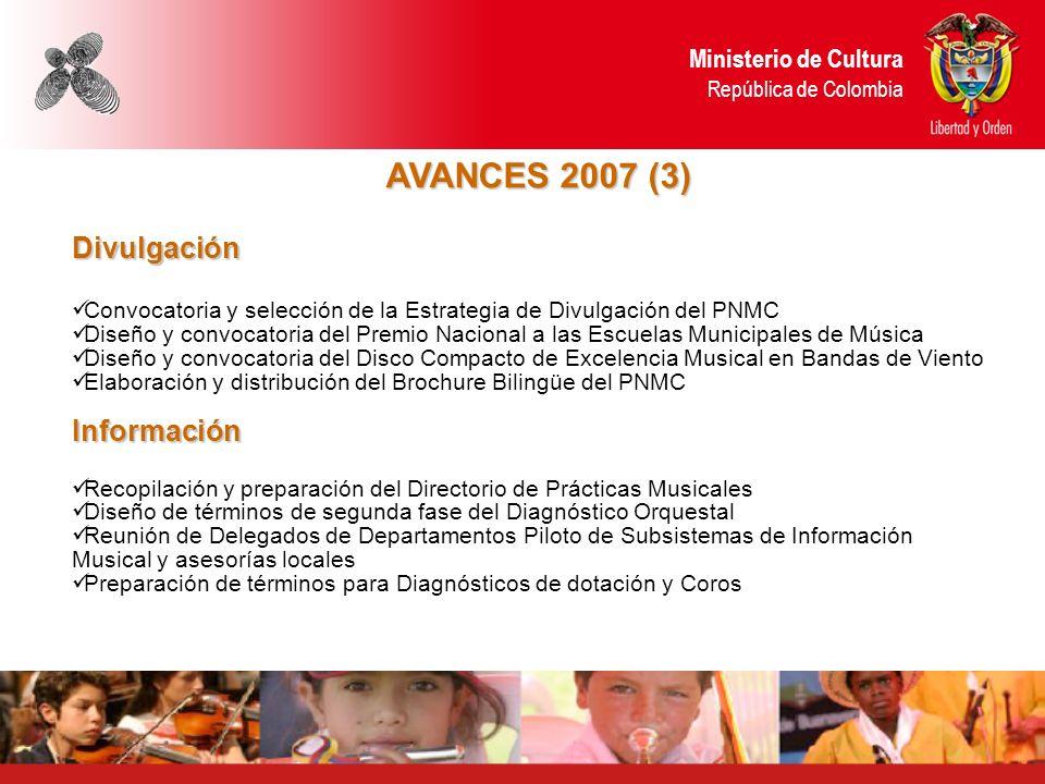 AVANCES 2007 (3) Divulgación Convocatoria y selección de la Estrategia de Divulgación del PNMC Diseño y convocatoria del Premio Nacional a las Escuela