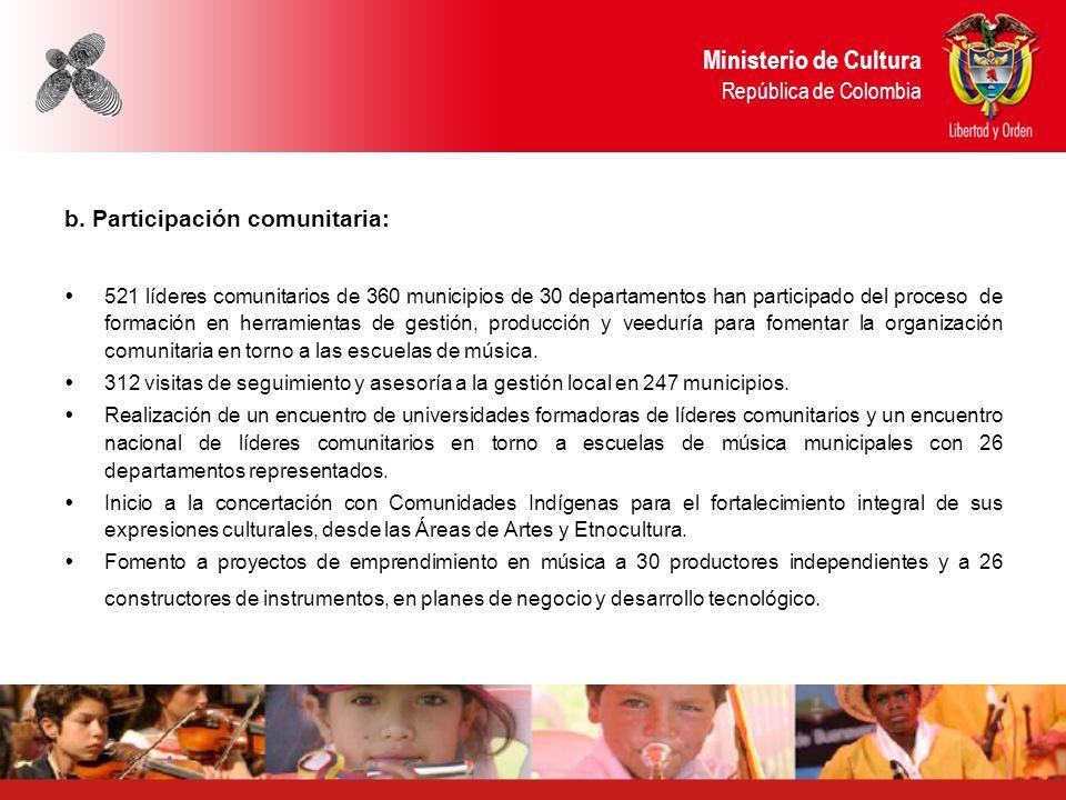 b. Participación comunitaria: 521 líderes comunitarios de 360 municipios de 30 departamentos han participado del proceso de formación en herramientas