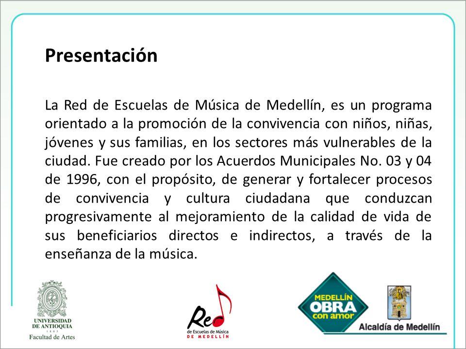 Presentación La Red de Escuelas de Música de Medellín, es un programa orientado a la promoción de la convivencia con niños, niñas, jóvenes y sus famil