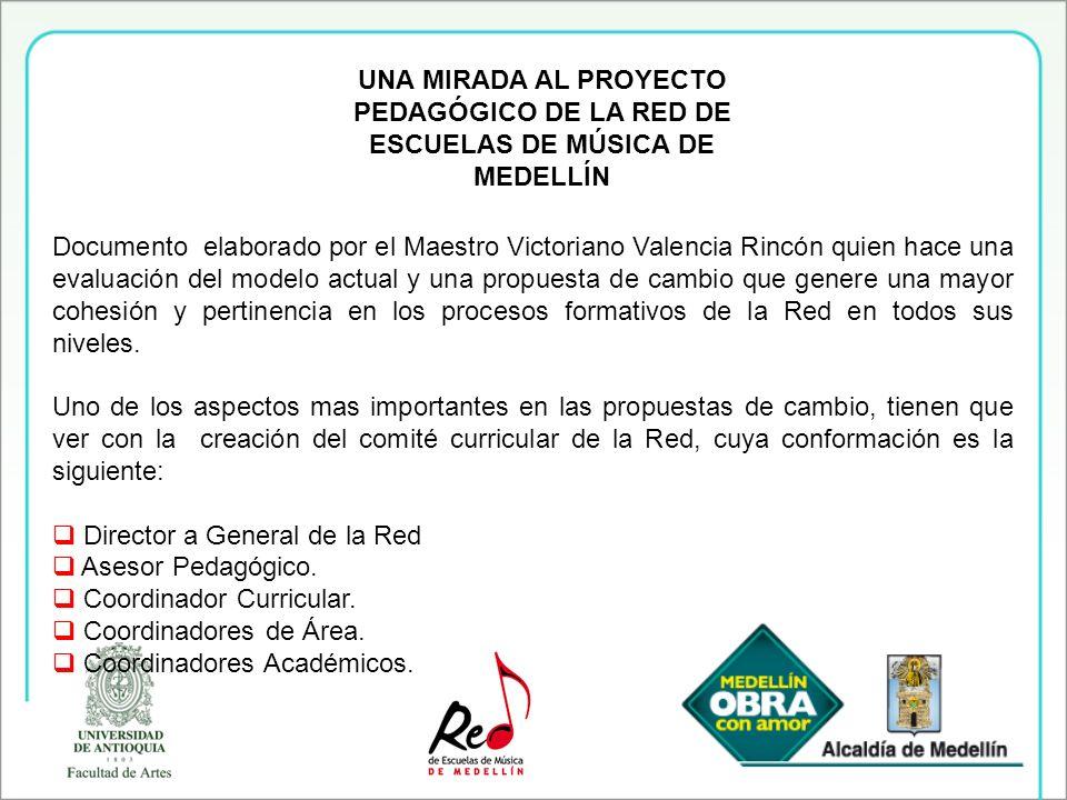 UNA MIRADA AL PROYECTO PEDAGÓGICO DE LA RED DE ESCUELAS DE MÚSICA DE MEDELLÍN Documento elaborado por el Maestro Victoriano Valencia Rincón quien hace