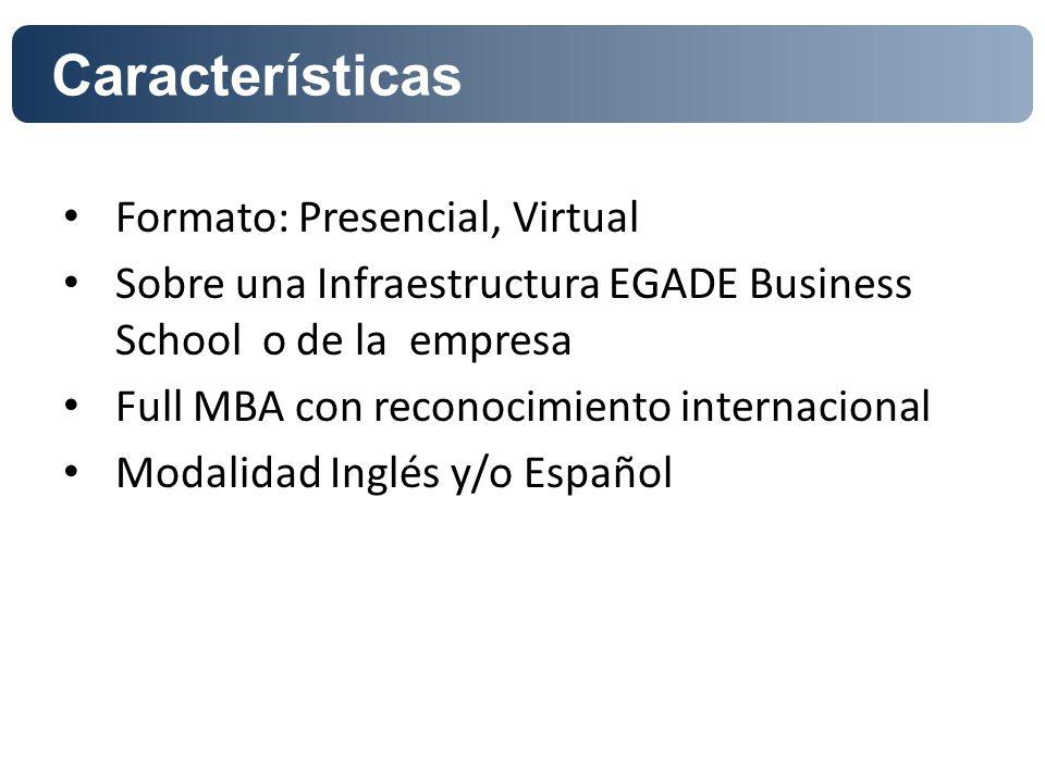 Acreditaciones y Rankings Características Formato: Presencial, Virtual Sobre una Infraestructura EGADE Business School o de la empresa Full MBA con re