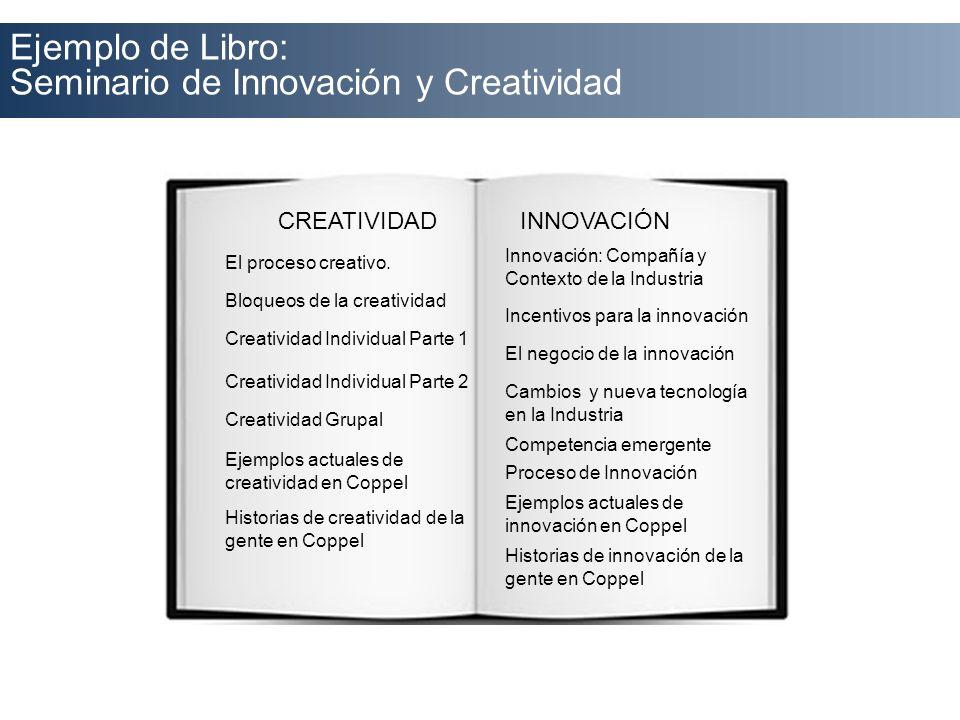Ejemplo de Libro: Seminario de Innovación y Creatividad CREATIVIDADINNOVACIÓN El proceso creativo. Bloqueos de la creatividad Creatividad Individual P