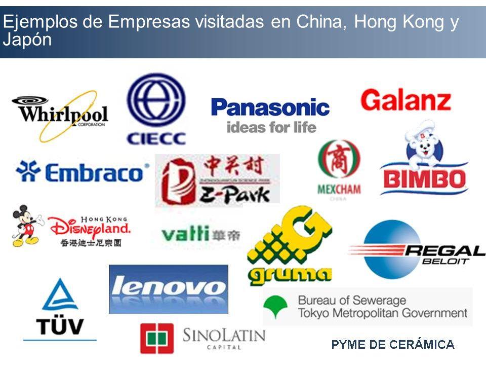 Ejemplos de Empresas visitadas en China, Hong Kong y Japón
