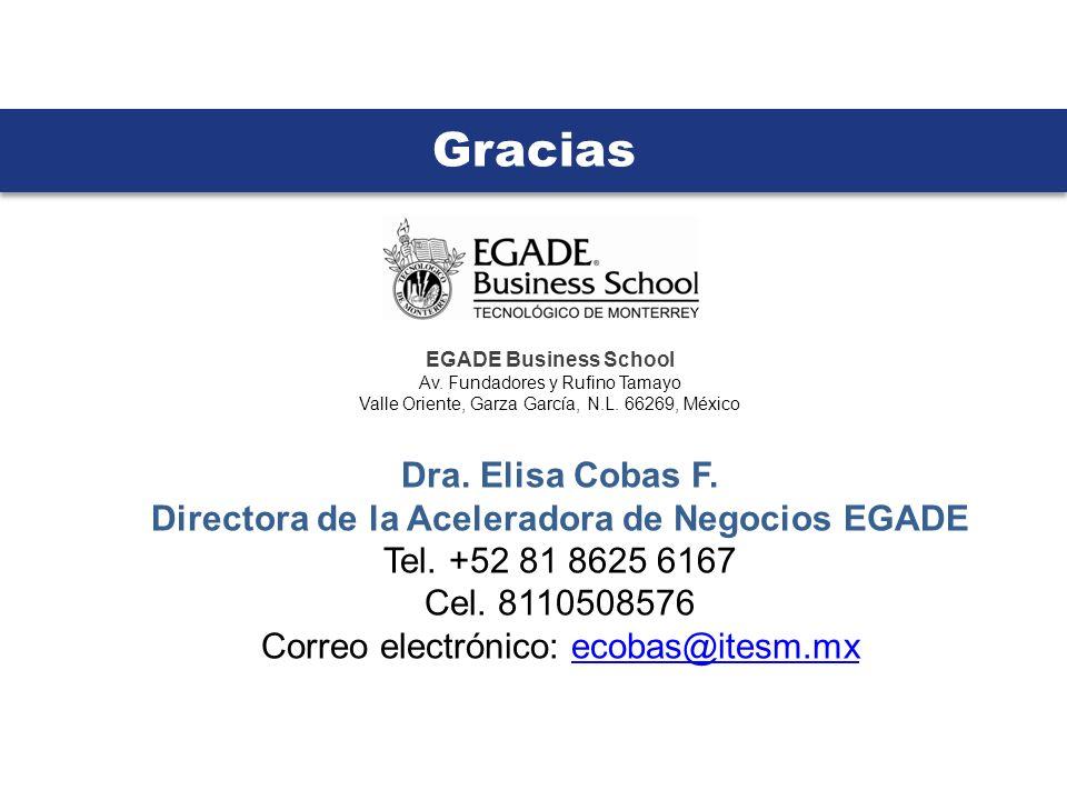 Gracias Dra. Elisa Cobas F. Directora de la Aceleradora de Negocios EGADE Tel. +52 81 8625 6167 Cel. 8110508576 Correo electrónico: ecobas@itesm.mxeco