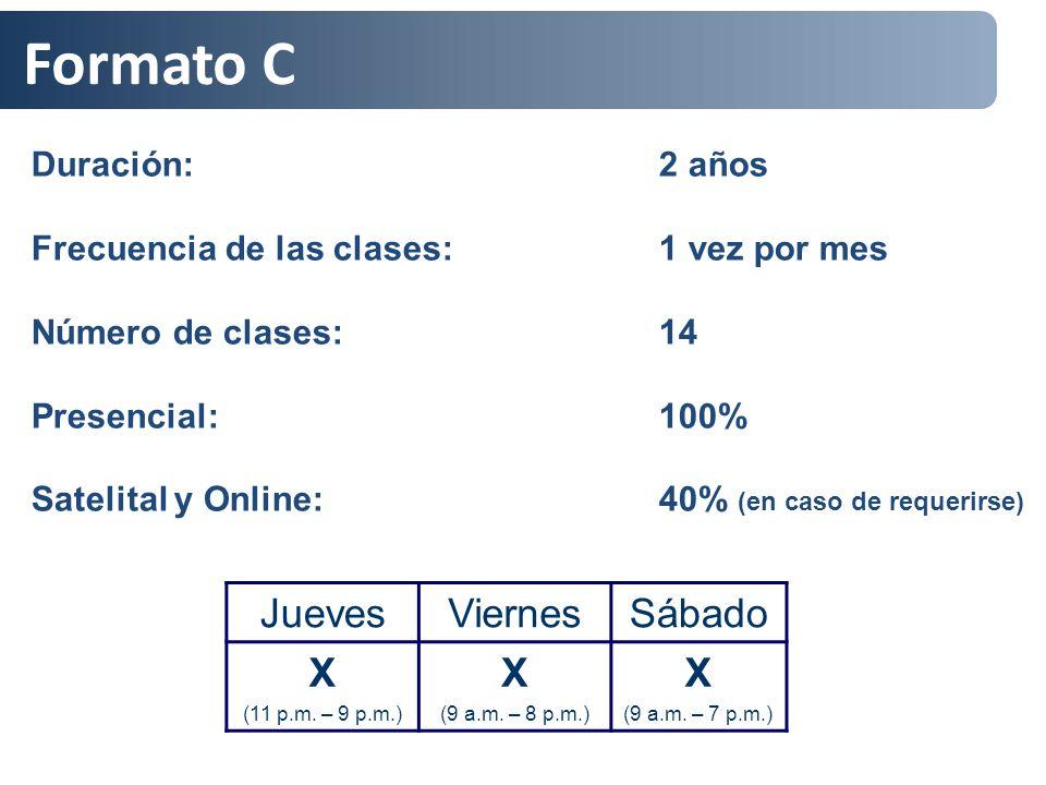 Formato C Duración: 2 años Frecuencia de las clases: 1 vez por mes Número de clases: 14 Presencial: 100% Satelital y Online: 40% (en caso de requerirs