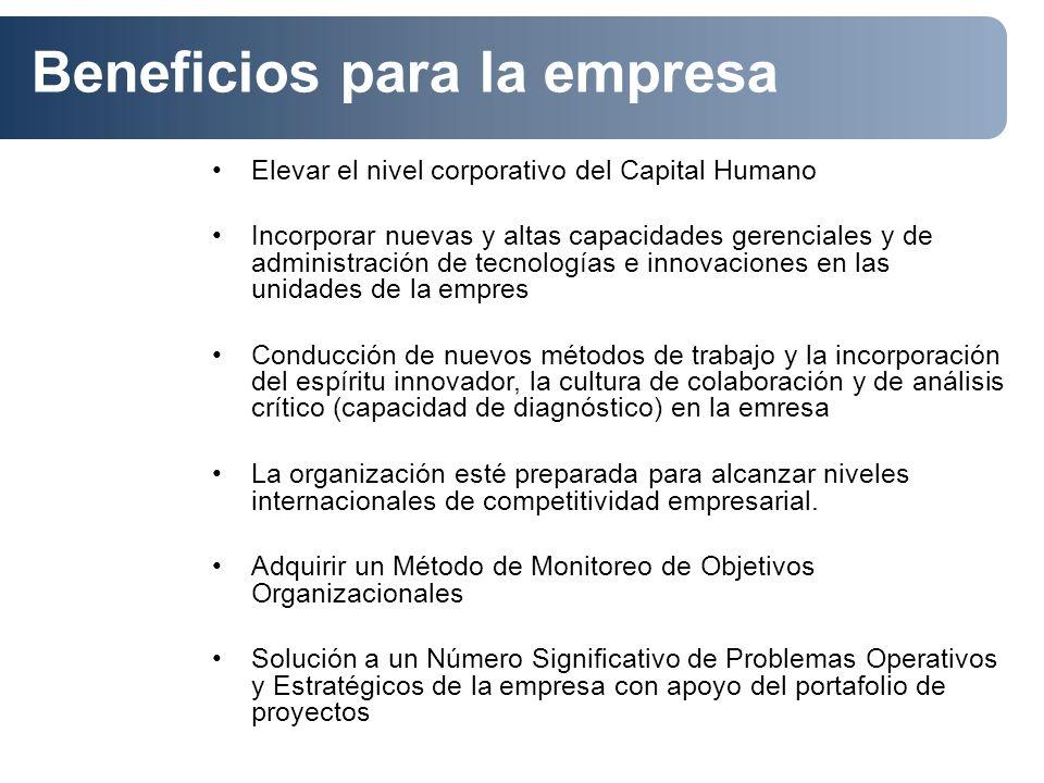 Elevar el nivel corporativo del Capital Humano Incorporar nuevas y altas capacidades gerenciales y de administración de tecnologías e innovaciones en