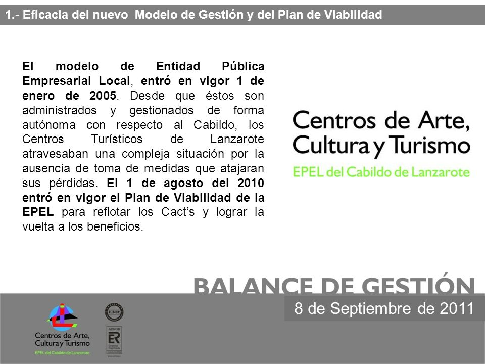 1.- Eficacia del nuevo Modelo de Gestión y del Plan de Viabilidad El modelo de Entidad Pública Empresarial Local, entró en vigor 1 de enero de 2005. D
