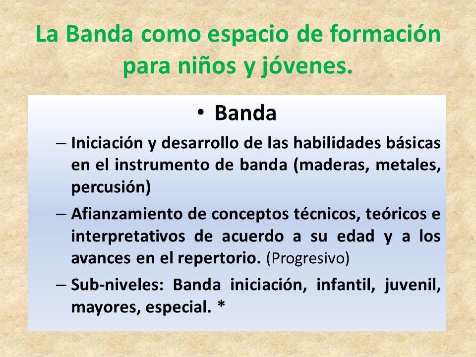 Banda – Iniciación y desarrollo de las habilidades básicas en el instrumento de banda (maderas, metales, percusión) – Afianzamiento de conceptos técni