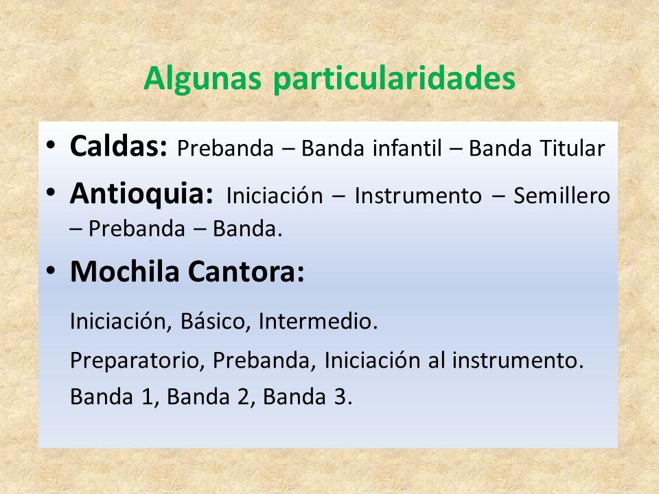 Caldas: Prebanda – Banda infantil – Banda Titular Antioquia: Iniciación – Instrumento – Semillero – Prebanda – Banda. Mochila Cantora: Iniciación, Bás