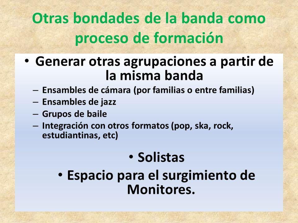 Otras bondades de la banda como proceso de formación Generar otras agrupaciones a partir de la misma banda – Ensambles de cámara (por familias o entre