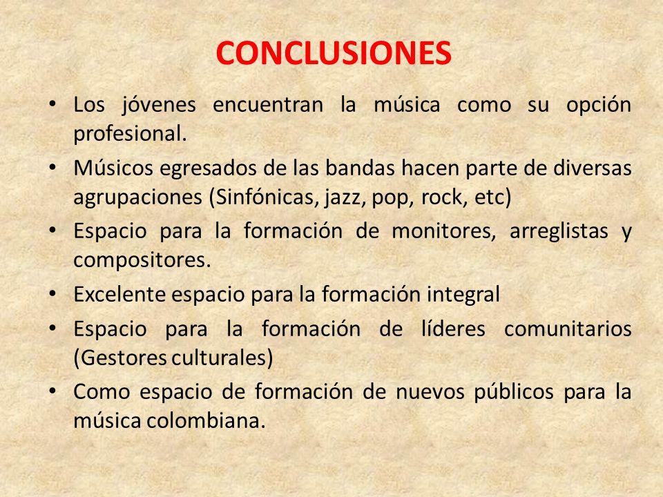 CONCLUSIONES Los jóvenes encuentran la música como su opción profesional. Músicos egresados de las bandas hacen parte de diversas agrupaciones (Sinfón
