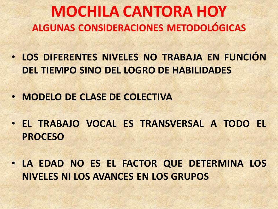MOCHILA CANTORA HOY ALGUNAS CONSIDERACIONES METODOLÓGICAS LOS DIFERENTES NIVELES NO TRABAJA EN FUNCIÓN DEL TIEMPO SINO DEL LOGRO DE HABILIDADES MODELO
