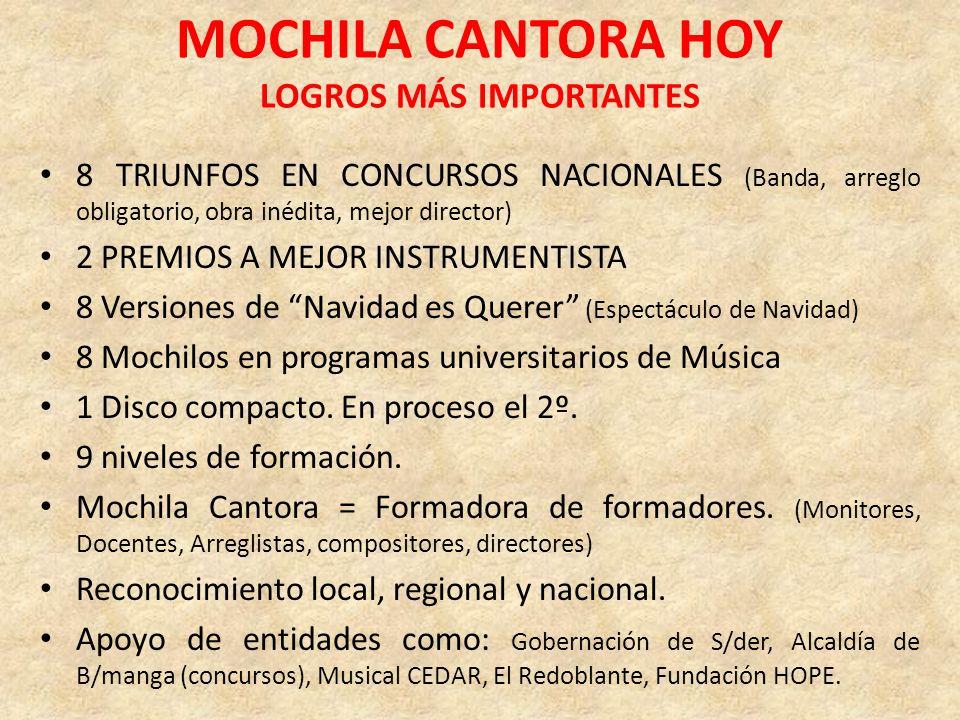 MOCHILA CANTORA HOY LOGROS MÁS IMPORTANTES 8 TRIUNFOS EN CONCURSOS NACIONALES (Banda, arreglo obligatorio, obra inédita, mejor director) 2 PREMIOS A M