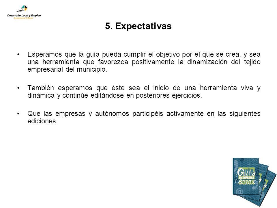 5. Expectativas Esperamos que la guía pueda cumplir el objetivo por el que se crea, y sea una herramienta que favorezca positivamente la dinamización