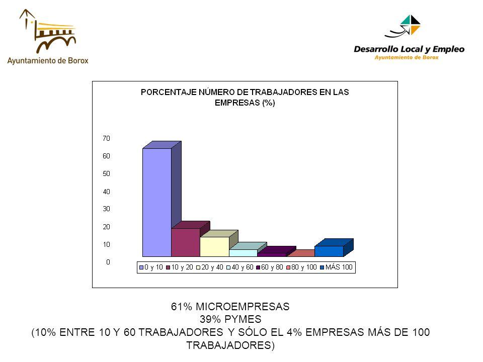 61% MICROEMPRESAS 39% PYMES (10% ENTRE 10 Y 60 TRABAJADORES Y SÓLO EL 4% EMPRESAS MÁS DE 100 TRABAJADORES)