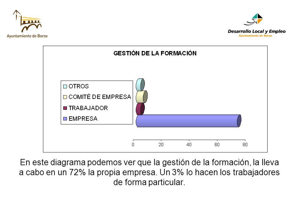 En este diagrama podemos ver que la gestión de la formación, la lleva a cabo en un 72% la propia empresa.
