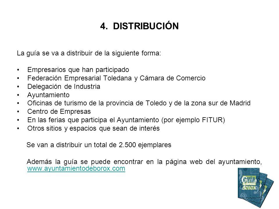 4. DISTRIBUCIÓN La guía se va a distribuir de la siguiente forma: Empresarios que han participado Federación Empresarial Toledana y Cámara de Comercio
