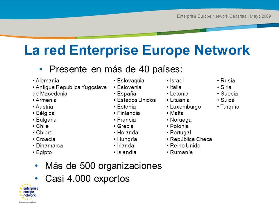 Title of the presentation | Date |# La red Enterprise Europe Network Presente en más de 40 países: Enterprise Europe Network Canarias | Mayo 2009 Alem