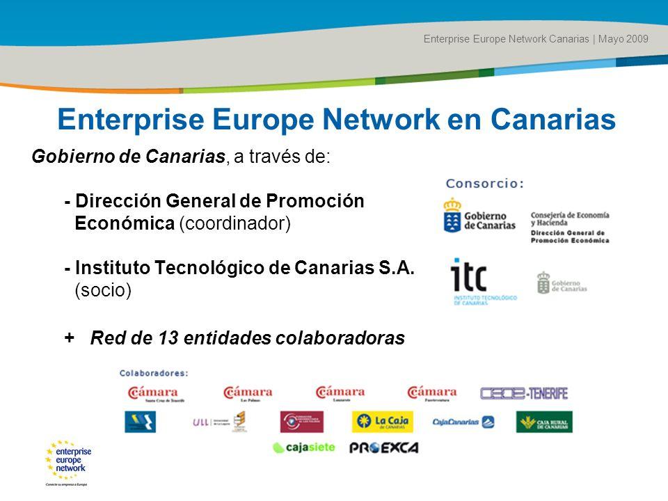 Title of the presentation | Date |# Enterprise Europe Network en Canarias Gobierno de Canarias, a través de: - Dirección General de Promoción Económica (coordinador) - Instituto Tecnológico de Canarias S.A.