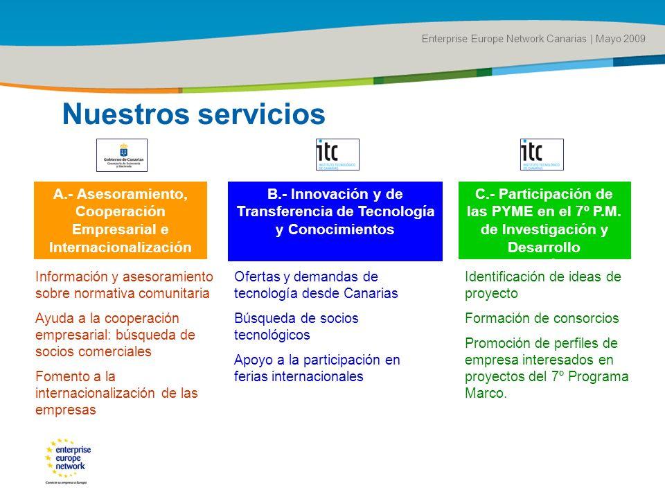 Title of the presentation | Date |# Enterprise Europe Network Canarias | Mayo 2009 A.- Asesoramiento, Cooperación Empresarial e Internacionalización B.- Innovación y de Transferencia de Tecnología y Conocimientos C.- Participación de las PYME en el 7º P.M.