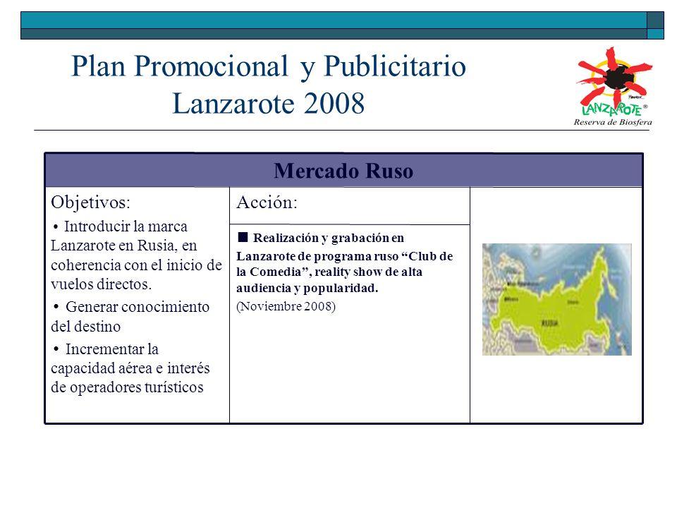 Mercado Ruso Objetivos: Introducir la marca Lanzarote en Rusia, en coherencia con el inicio de vuelos directos.