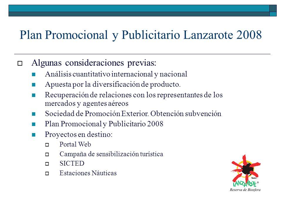 Plan Promocional y Publicitario Lanzarote 2008 Algunas consideraciones previas: Análisis cuantitativo internacional y nacional Apuesta por la diversificación de producto.