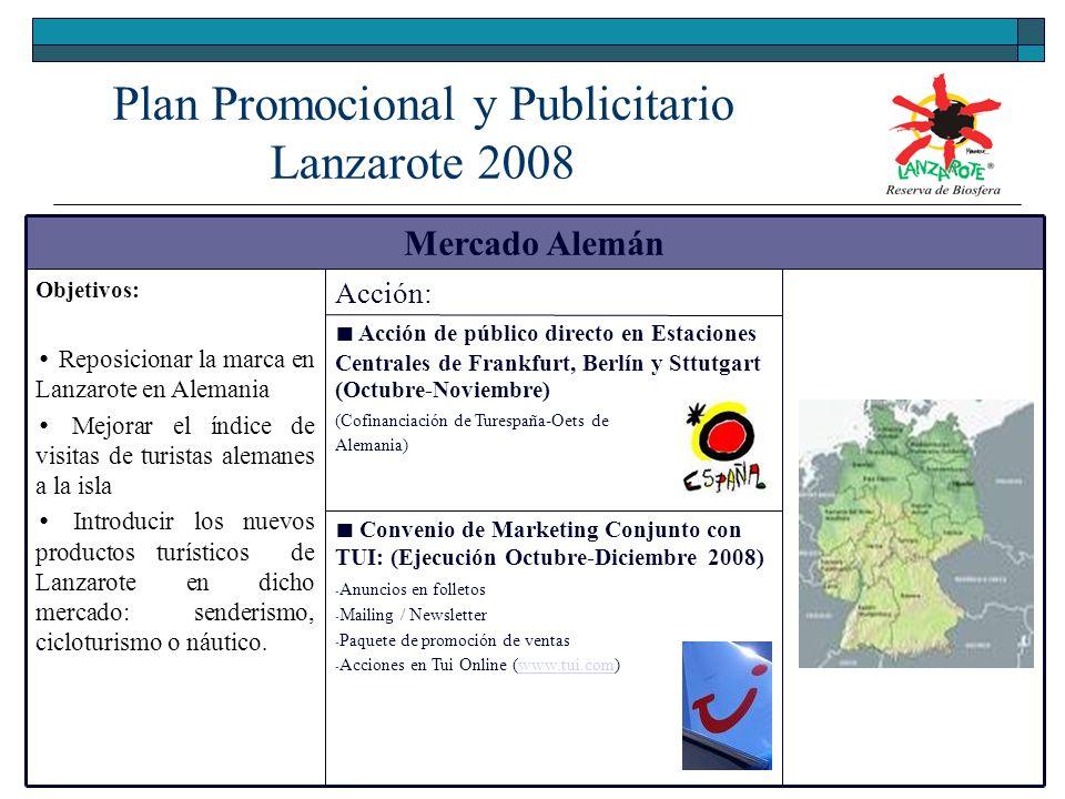 Plan Promocional y Publicitario Lanzarote 2008 Mercado Alemán Objetivos: Reposicionar la marca en Lanzarote en Alemania Mejorar el índice de visitas de turistas alemanes a la isla Introducir los nuevos productos turísticos de Lanzarote en dicho mercado: senderismo, cicloturismo o náutico.