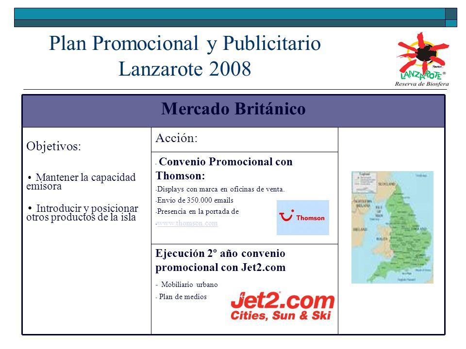 Mercado Británico Objetivos: Mantener la capacidad emisora Introducir y posicionar otros productos de la isla Acción: - Convenio Promocional con Thomson: - Displays con marca en oficinas de venta.