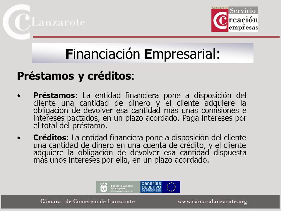 Financiación Empresarial: Préstamos y créditos: Préstamos: La entidad financiera pone a disposición del cliente una cantidad de dinero y el cliente ad