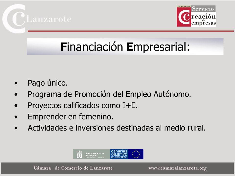 Financiación Empresarial: Pago único. Programa de Promoción del Empleo Autónomo. Proyectos calificados como I+E. Emprender en femenino. Actividades e