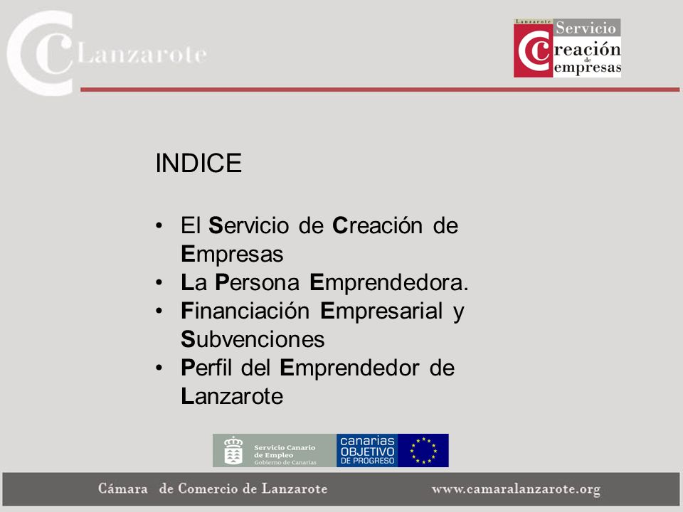 INDICE El Servicio de Creación de Empresas La Persona Emprendedora. Financiación Empresarial y Subvenciones Perfil del Emprendedor de Lanzarote
