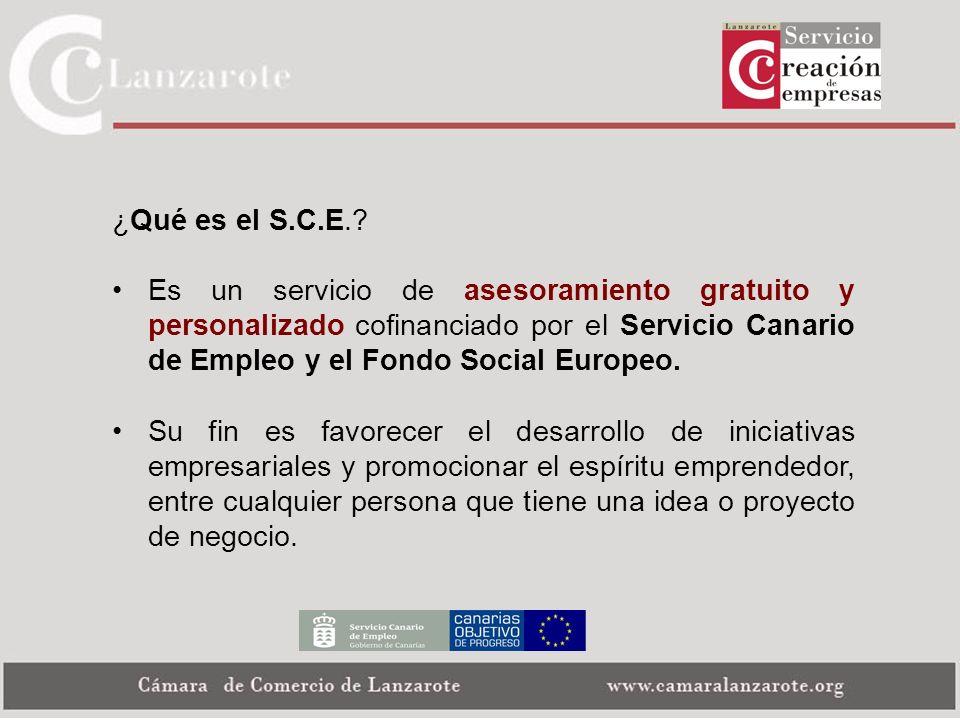 ¿Qué es el S.C.E.? Es un servicio de asesoramiento gratuito y personalizado cofinanciado por el Servicio Canario de Empleo y el Fondo Social Europeo.