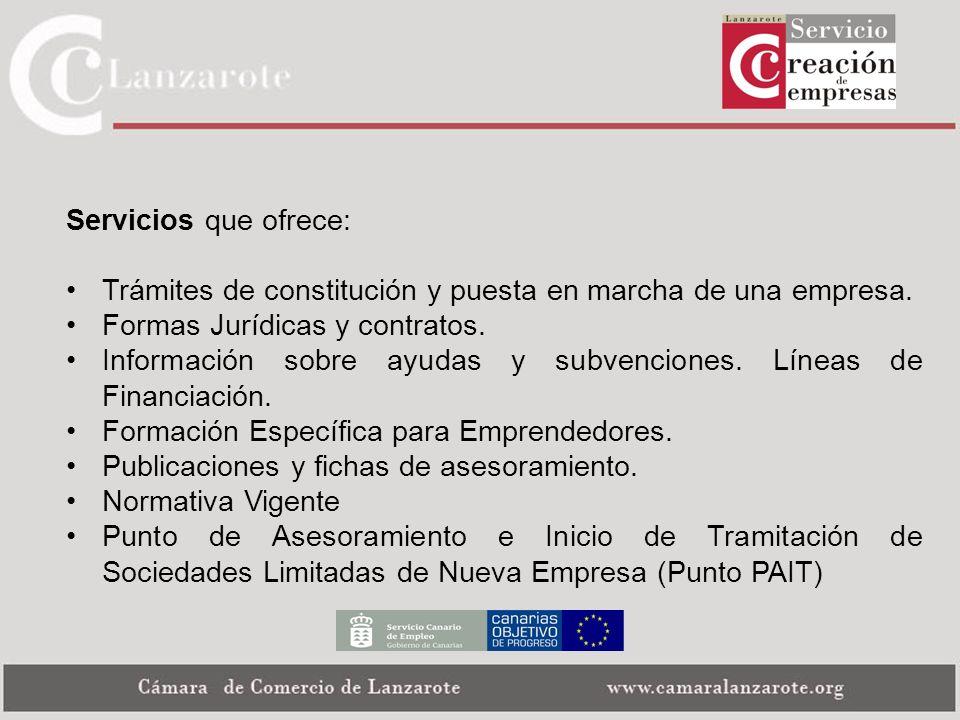 Servicios que ofrece: Trámites de constitución y puesta en marcha de una empresa. Formas Jurídicas y contratos. Información sobre ayudas y subvencione