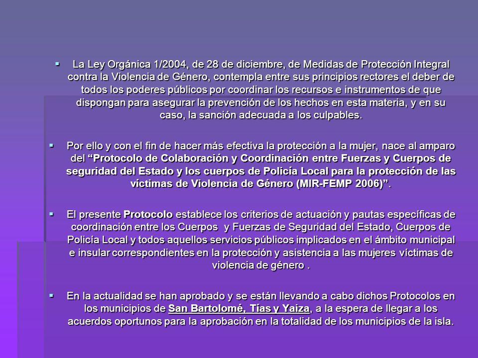 La Ley Orgánica 1/2004, de 28 de diciembre, de Medidas de Protección Integral contra la Violencia de Género, contempla entre sus principios rectores e
