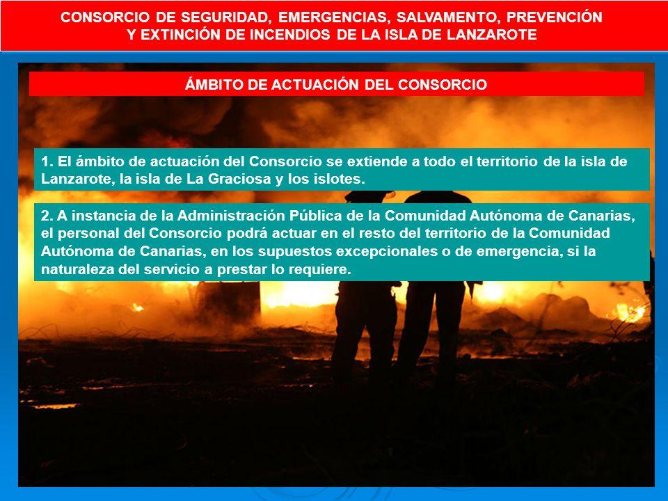 CONSORCIO DE SEGURIDAD, EMERGENCIAS, SALVAMENTO, PREVENCIÓN Y EXTINCIÓN DE INCENDIOS DE LA ISLA DE LANZAROTE CONSORCIO DE SEGURIDAD, EMERGENCIAS, SALVAMENTO, PREVENCIÓN Y EXTINCIÓN DE INCENDIOS DE LA ISLA DE LANZAROTE ÁMBITO DE ACTUACIÓN DEL CONSORCIO 1.