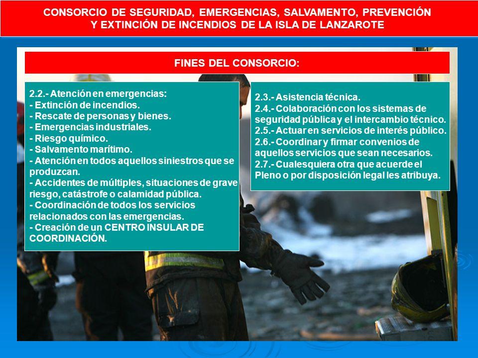 CONSORCIO DE SEGURIDAD, EMERGENCIAS, SALVAMENTO, PREVENCIÓN Y EXTINCIÓN DE INCENDIOS DE LA ISLA DE LANZAROTE CONSORCIO DE SEGURIDAD, EMERGENCIAS, SALVAMENTO, PREVENCIÓN Y EXTINCIÓN DE INCENDIOS DE LA ISLA DE LANZAROTE FINES DEL CONSORCIO: 2.2.- Atención en emergencias: - Extinción de incendios.