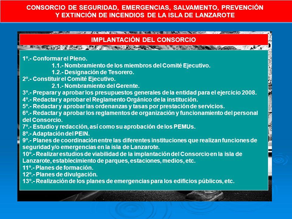 CONSORCIO DE SEGURIDAD, EMERGENCIAS, SALVAMENTO, PREVENCIÓN Y EXTINCIÓN DE INCENDIOS DE LA ISLA DE LANZAROTE CONSORCIO DE SEGURIDAD, EMERGENCIAS, SALVAMENTO, PREVENCIÓN Y EXTINCIÓN DE INCENDIOS DE LA ISLA DE LANZAROTE IMPLANTACIÓN DEL CONSORCIO 1º.- Conformar el Pleno.