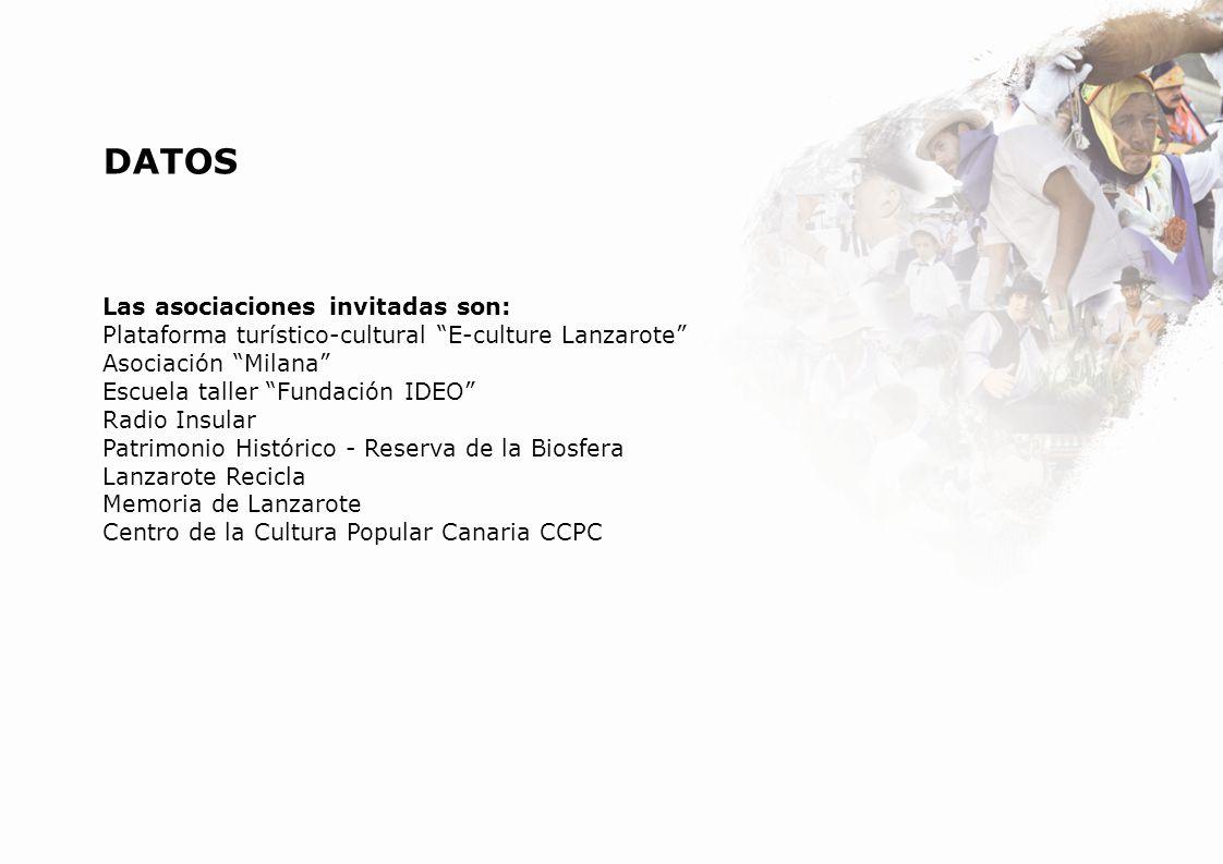 DATOS Las asociaciones invitadas son: Plataforma turístico-cultural E-culture Lanzarote Asociación Milana Escuela taller Fundación IDEO Radio Insular