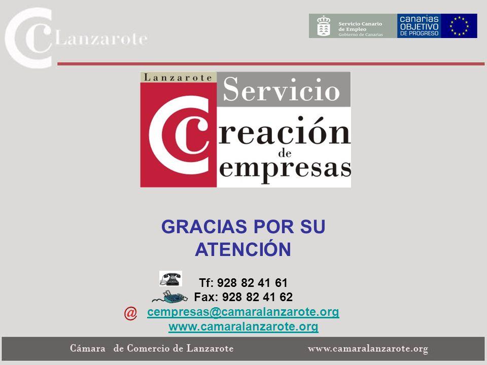 GRACIAS POR SU ATENCIÓN Tf: 928 82 41 61 Fax: 928 82 41 62 cempresas@camaralanzarote.org www.camaralanzarote.org