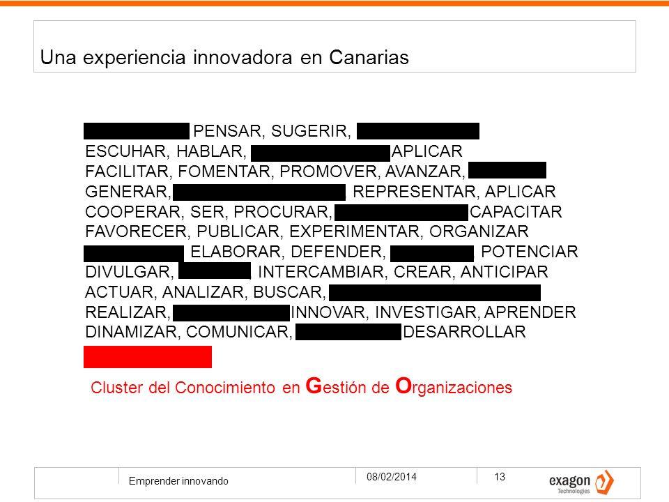 Una experiencia innovadora en Canarias 08/02/2014 Emprender innovando 13 PLANIFICAR, PENSAR, SUGERIR, IDEAR, HACER ESCUHAR, HABLAR, RELACIONARSE, APLICAR FACILITAR, FOMENTAR, PROMOVER, AVANZAR, LIDERAR GENERAR, ADAPTAR, DIFUNDIR, REPRESENTAR, APLICAR COOPERAR, SER, PROCURAR, INCREMENTAR, CAPACITAR FAVORECER, PUBLICAR, EXPERIMENTAR, ORGANIZAR ESTIMULAR, ELABORAR, DEFENDER, DIFUNDIR, POTENCIAR DIVULGAR, PENSAR, INTERCAMBIAR, CREAR, ANTICIPAR ACTUAR, ANALIZAR, BUSCAR, PLANTEAR, IMPULSAR, REALIZAR, IDENTIFICAR, INNOVAR, INVESTIGAR, APRENDER DINAMIZAR, COMUNICAR, IMPLANTAR, DESARROLLAR CLUSTER GO Cluster del Conocimiento en G estión de O rganizaciones