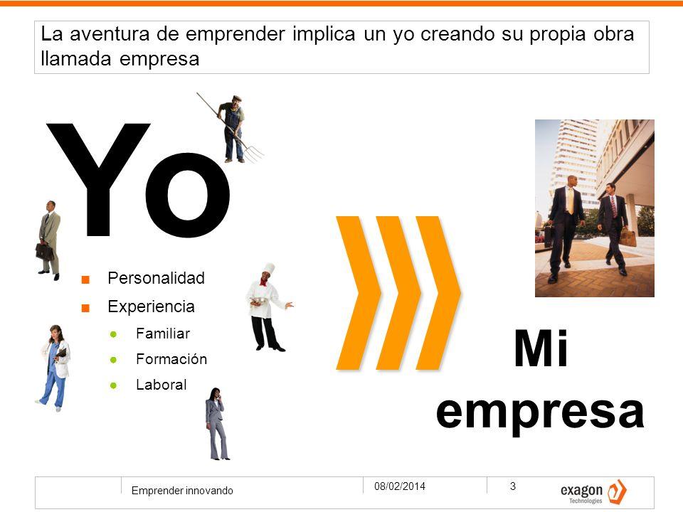 La aventura de emprender implica un yo creando su propia obra llamada empresa 08/02/2014 Emprender innovando 3 Yo Mi empresa Personalidad Experiencia Familiar Formación Laboral