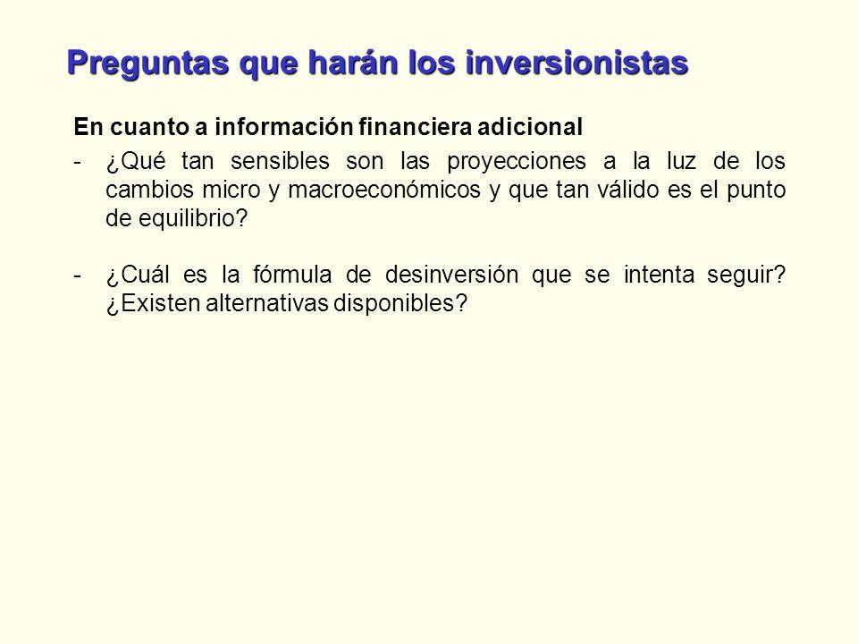Preguntas que harán los inversionistas En cuanto a información financiera adicional -¿Qué tan sensibles son las proyecciones a la luz de los cambios m