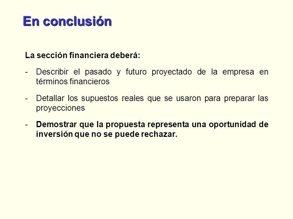 En conclusión La sección financiera deberá: -Describir el pasado y futuro proyectado de la empresa en términos financieros -Detallar los supuestos rea