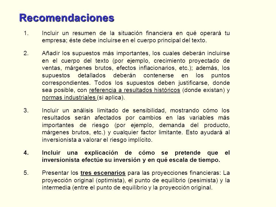 Recomendaciones 1.Incluir un resumen de la situación financiera en qué operará tu empresa; éste debe incluirse en el cuerpo principal del texto. 2.Aña