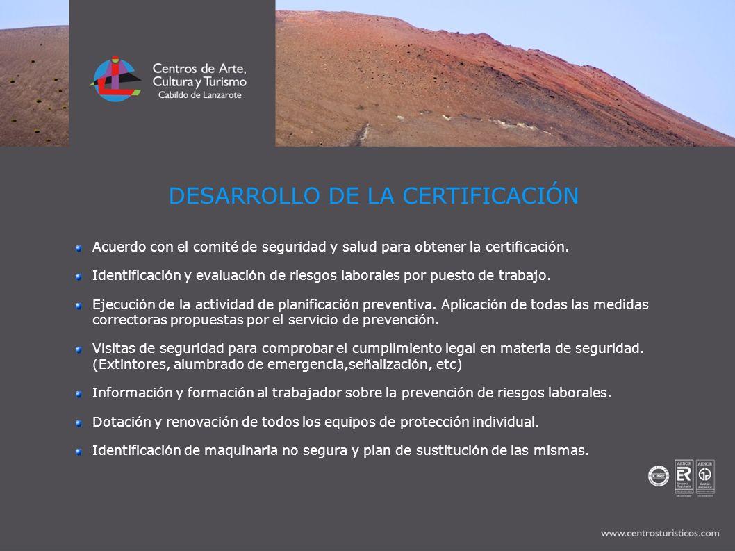 DESARROLLO DE LA CERTIFICACIÓN Acuerdo con el comité de seguridad y salud para obtener la certificación. Identificación y evaluación de riesgos labora