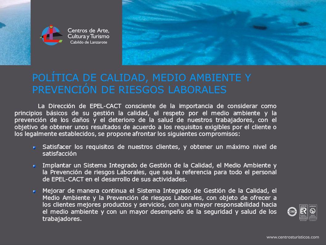 CONCLUSIONES Los trabajadores de los Centros de Arte, Cultura y Turismo del Cabildo de Lanzarote y nuestros colaboradores hemos conseguido en el plazo de tres años convertir a los Centros en la primera entidad pública en certificarse mediante las ISO 9001, ISO 14.001 y OHSAS 18.001 en Canarias.