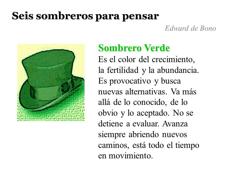 Seis sombreros para pensar Sombrero Verde Es el color del crecimiento, la fertilidad y la abundancia. Es provocativo y busca nuevas alternativas. Va m