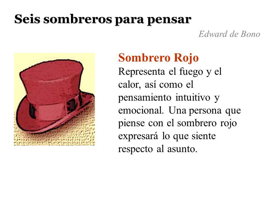 Seis sombreros para pensar Sombrero Rojo Representa el fuego y el calor, así como el pensamiento intuitivo y emocional. Una persona que piense con el