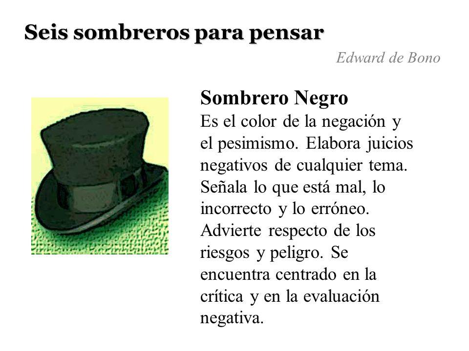 Seis sombreros para pensar Sombrero Negro Es el color de la negación y el pesimismo. Elabora juicios negativos de cualquier tema. Señala lo que está m